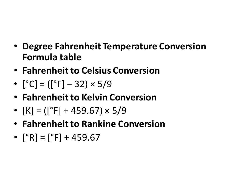 Degree Fahrenheit Temperature Conversion Formula table Fahrenheit to Celsius Conversion [°C] = ([°F] − 32) × 5/9 Fahrenheit to Kelvin Conversion [K] =