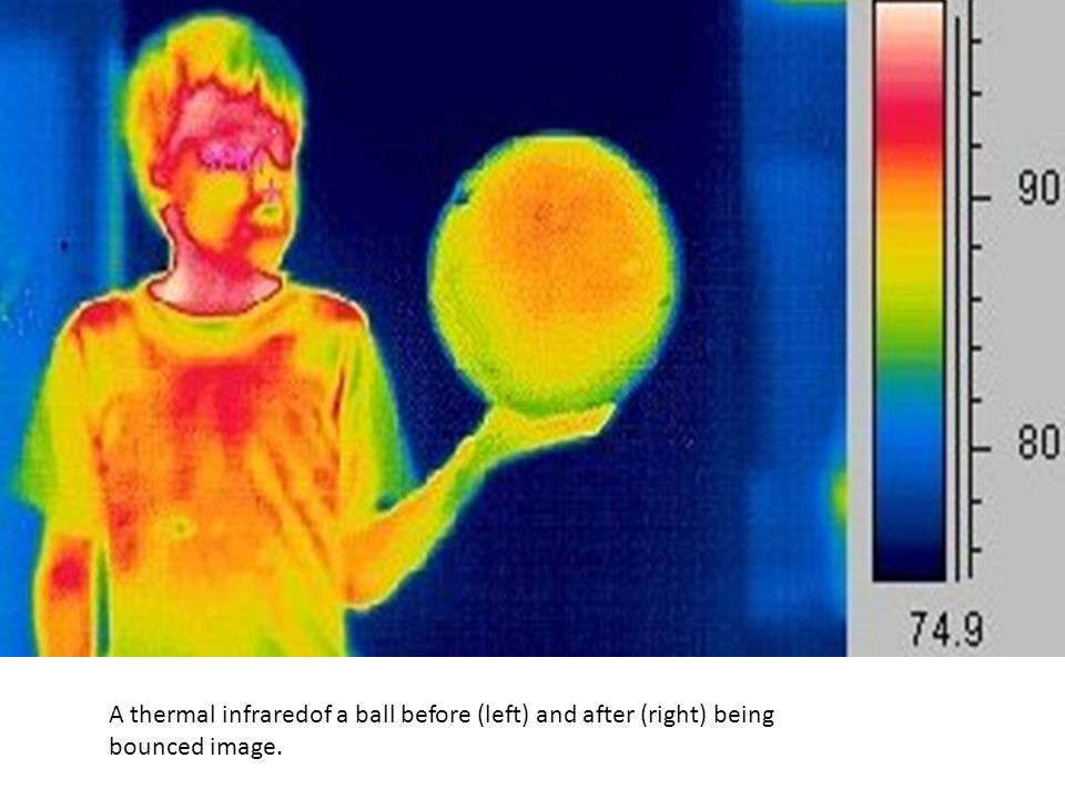 A thermal infraredof a ball before (left) and after (right) being bounced image.