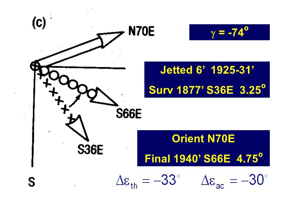 Jetted 6' 1925-31' Surv 1877' S36E 3.25 o Orient N70E Final 1940' S66E 4.75 o  = -74 o