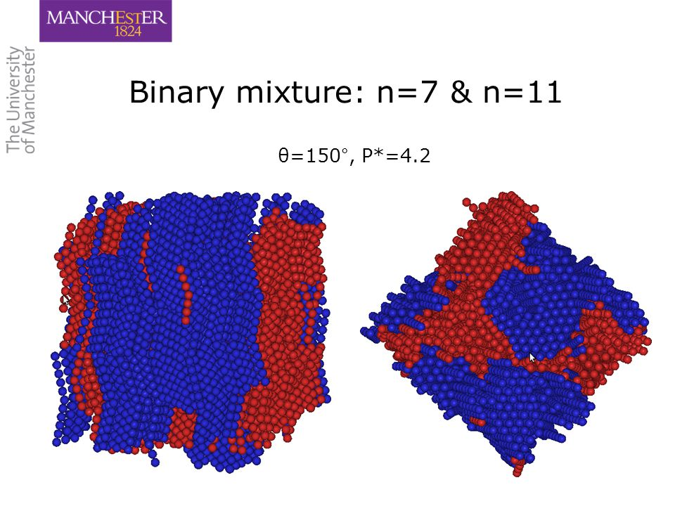 20 Binary mixture: n=7 & n=11 θ=150°, P*=4.2
