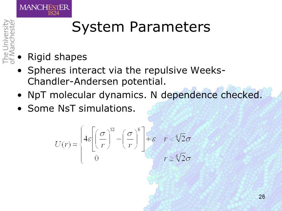 26 System Parameters Rigid shapes Spheres interact via the repulsive Weeks- Chandler-Andersen potential. NpT molecular dynamics. N dependence checked.