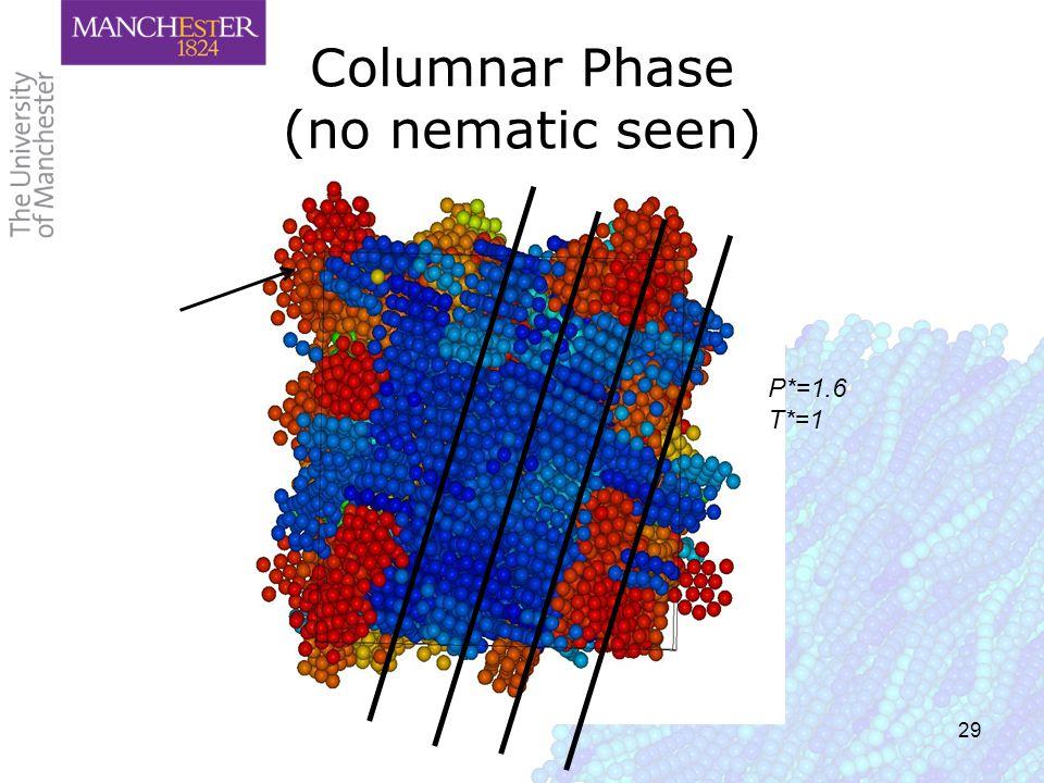 29 Columnar Phase (no nematic seen) P*=1.6 T*=1