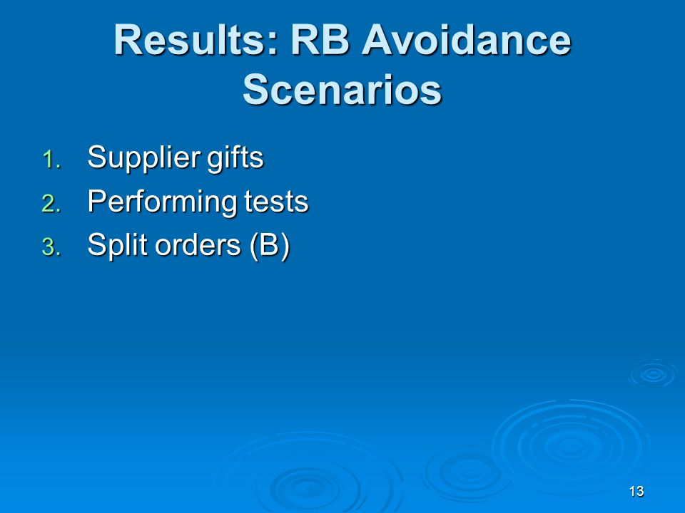 13 Results: RB Avoidance Scenarios 1. Supplier gifts 2. Performing tests 3. Split orders (B)