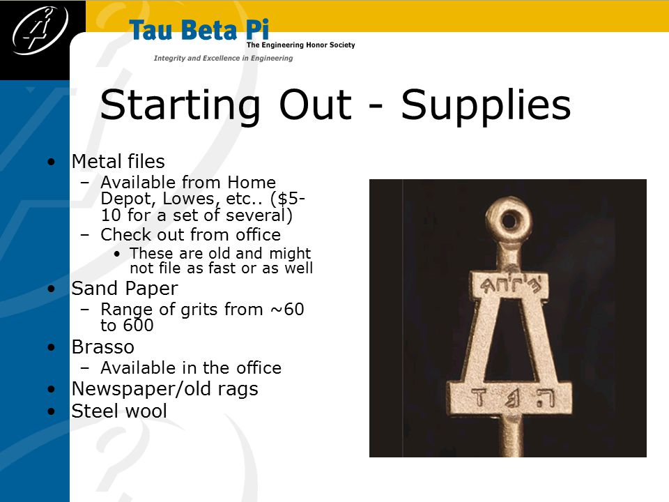 Starting Out - Supplies Metal files –Available from Home Depot, Lowes, etc..