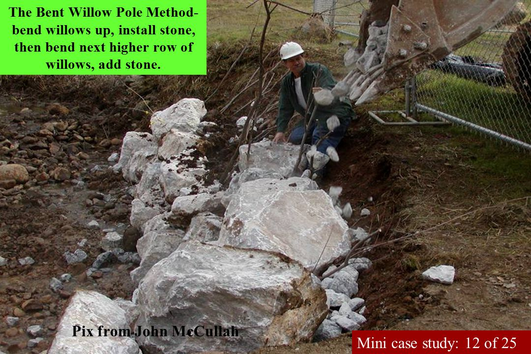 The Bent Willow Pole Method- bend willows up, install stone, then bend next higher row of willows, add stone.