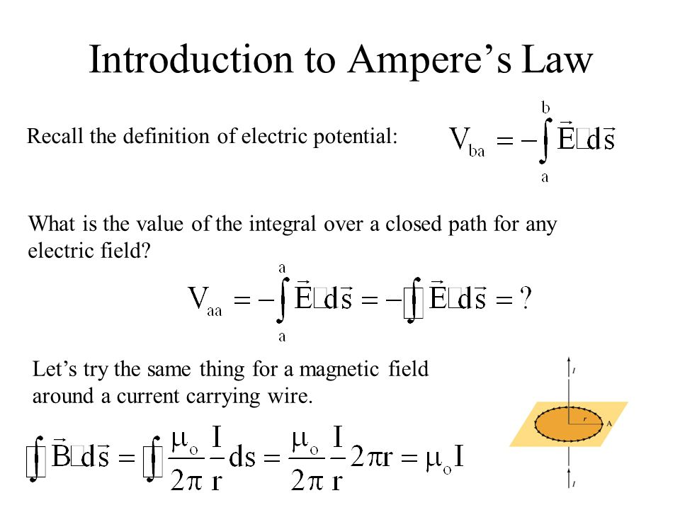 Introduction to Ampere's Law Recall the definition of electric potential: What is the value of the integral over a closed path for any electric field?