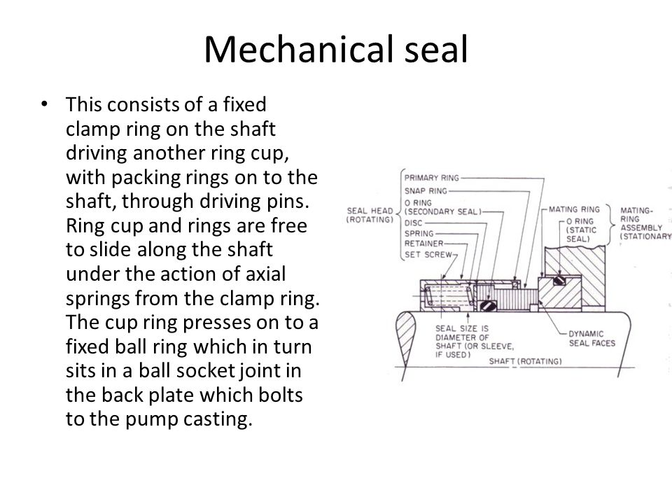 Mechanical seal This consists of a fixed clamp ring on the shaft driving another ring cup, with packing rings on to the shaft, through driving pins. R