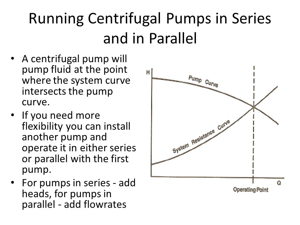 Running Centrifugal Pumps in Series and in Parallel A centrifugal pump will pump fluid at the point where the system curve intersects the pump curve.