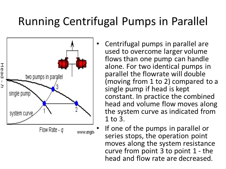 Running Centrifugal Pumps in Parallel Centrifugal pumps in parallel are used to overcome larger volume flows than one pump can handle alone. For two i