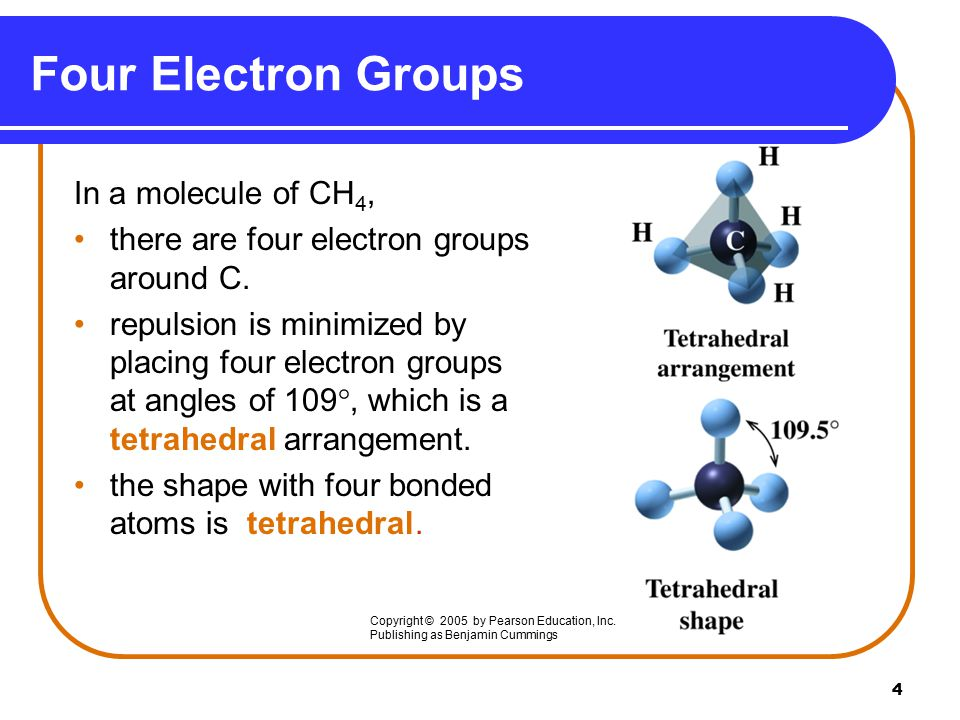 4 Four Electron Groups In a molecule of CH 4, there are four electron groups around C.