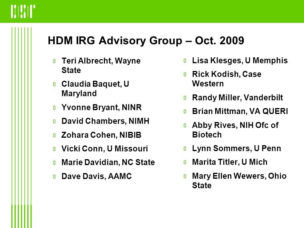 HDM IRG Advisory Group – Oct.