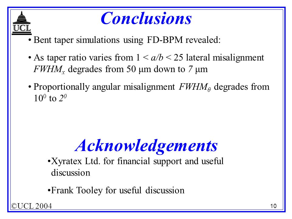 ©UCL 2004 10 Conclusions Acknowledgements Bent taper simulations using FD-BPM revealed: As taper ratio varies from 1 < a/b < 25 lateral misalignment F
