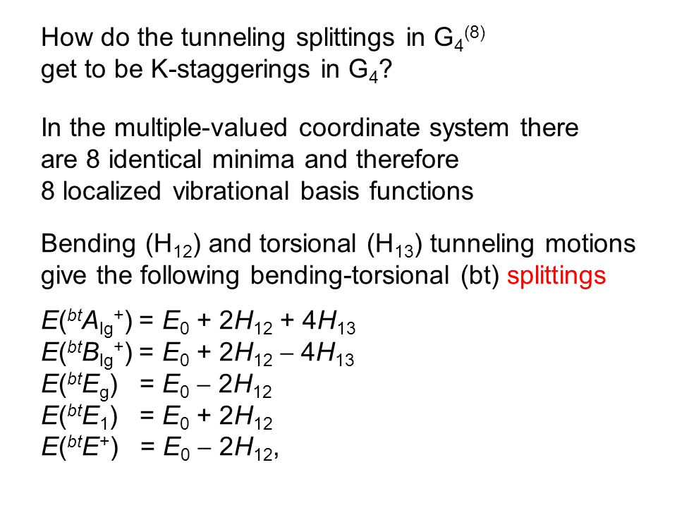 How do the tunneling splittings in G 4 (8) get to be K-staggerings in G 4 .
