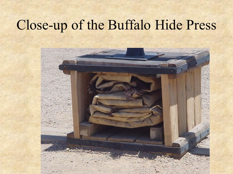 Close-up of the Buffalo Hide Press