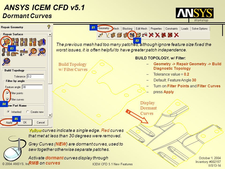 ICEM CFD 5.1 New Features Workshop ANSYS ICEM CFD v5.1 October 1, 2004 Inventory #002157 WS13-14 © 2004 ANSYS, Inc. Dormant Curves The previous mesh h