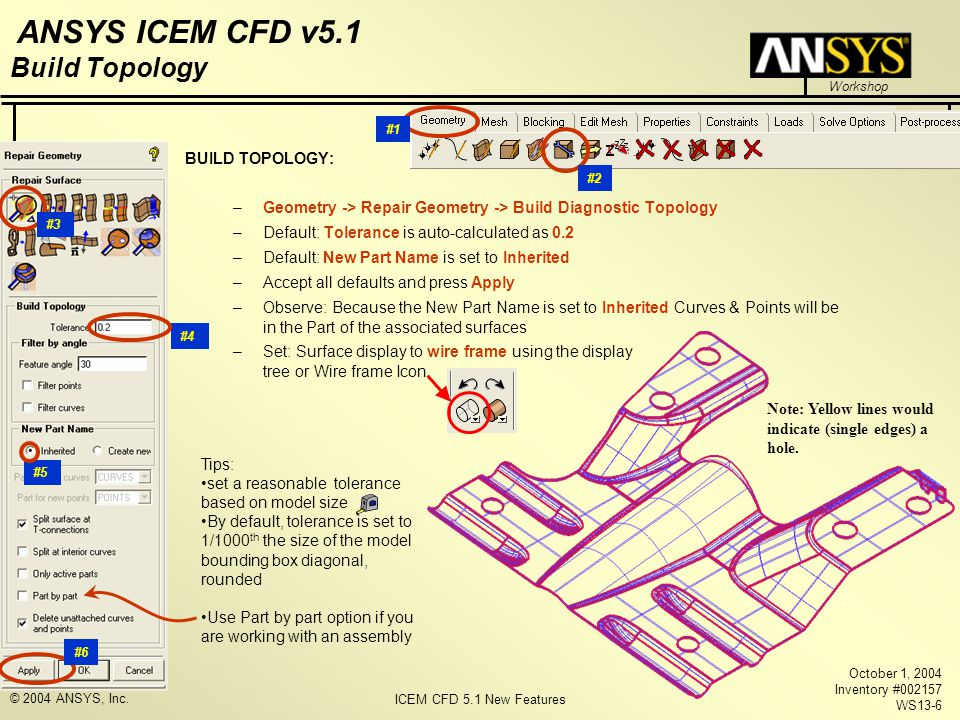 ICEM CFD 5.1 New Features Workshop ANSYS ICEM CFD v5.1 October 1, 2004 Inventory #002157 WS13-6 © 2004 ANSYS, Inc. Build Topology BUILD TOPOLOGY: –Geo