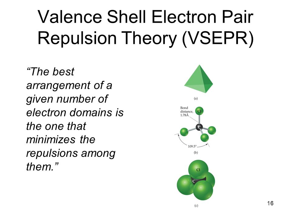 Valence Shell Electron Pair Repulsion Theory (VSEPR) The best arrangement of a given number of electron domains is the one that minimizes the repulsions among them. 16