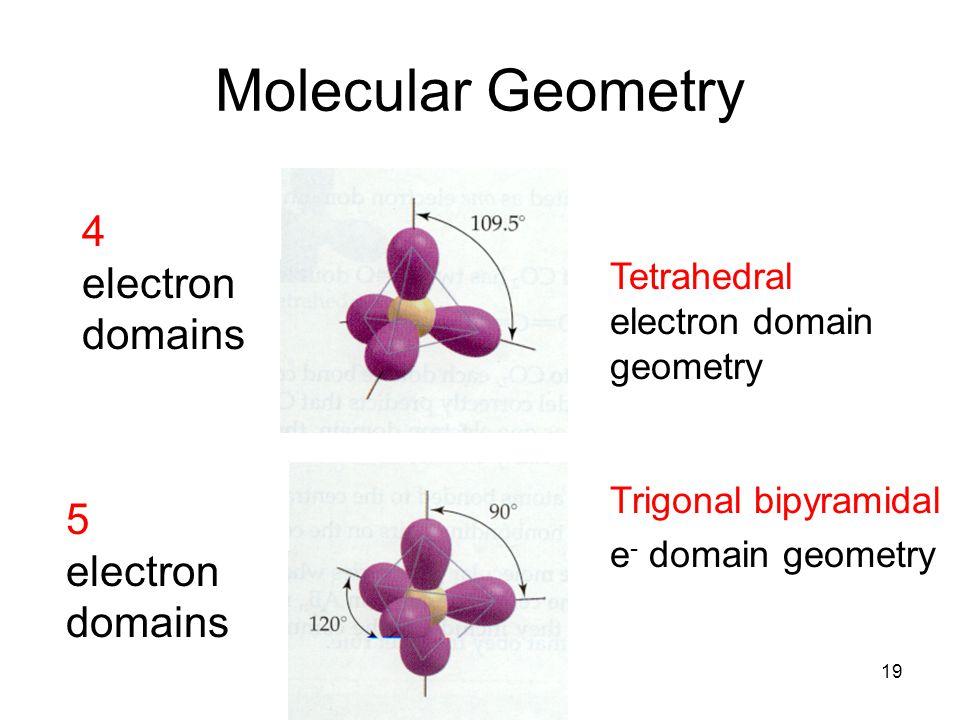 Molecular Geometry 4 electron domains 5 electron domains Tetrahedral electron domain geometry Trigonal bipyramidal e - domain geometry 19