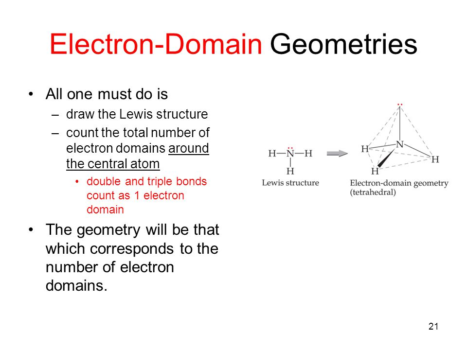 Electron-Domain Geometries All one must do is –draw the Lewis structure –count the total number of electron domains around the central atom double and triple bonds count as 1 electron domain The geometry will be that which corresponds to the number of electron domains.