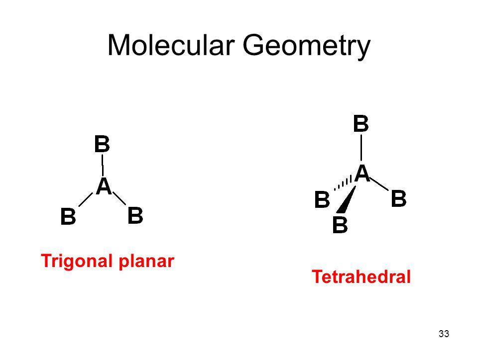 Molecular Geometry Trigonal planar Tetrahedral 33