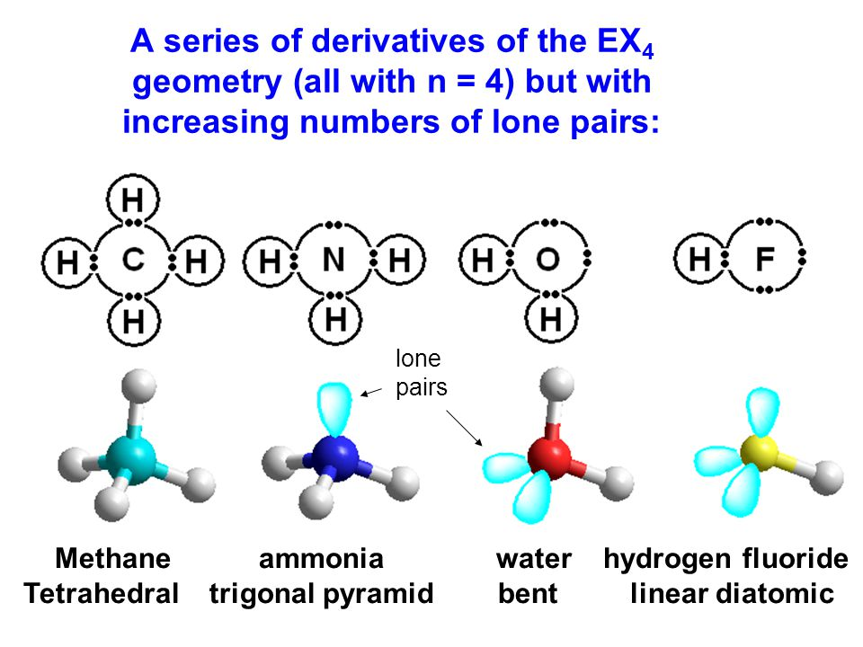 A series of derivatives of the EX 4 geometry (all with n = 4) but with increasing numbers of lone pairs: Methane ammonia water hydrogen fluoride Tetrahedral trigonal pyramid bent linear diatomic lone pairs