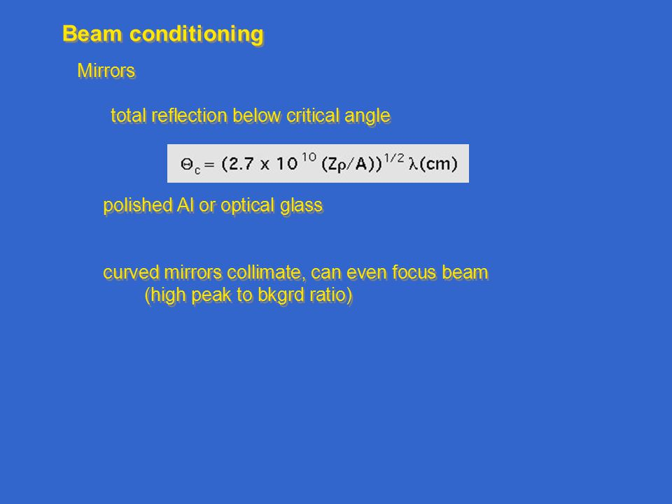 Beam conditioning Mirrors total reflection below critical angle polished Al or optical glass curved mirrors collimate, can even focus beam (high peak to bkgrd ratio) Mirrors total reflection below critical angle polished Al or optical glass curved mirrors collimate, can even focus beam (high peak to bkgrd ratio)