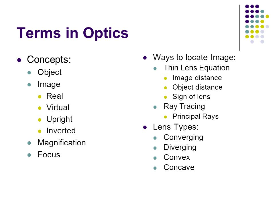 Terms in Optics Concepts: Object Image Real Virtual Upright Inverted Magnification Focus Ways to locate Image: Thin Lens Equation Image distance Objec