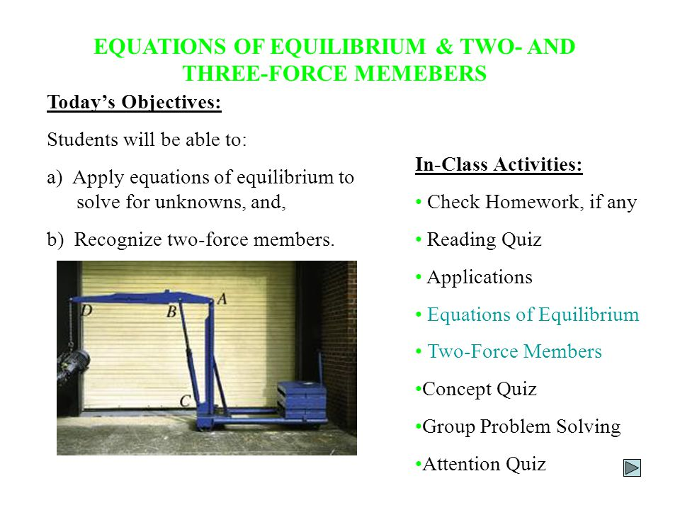 EQUATIONS OF EQUILIBRIUM & TWO- AND THREE-FORCE MEMEBERS Today's Objectives: Students will be able to: a) Apply equations of equilibrium to solve for unknowns, and, b) Recognize two-force members.