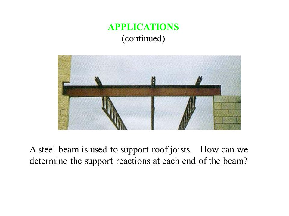 APPLICATIONS (continued) A steel beam is used to support roof joists. How can we determine the support reactions at each end of the beam?
