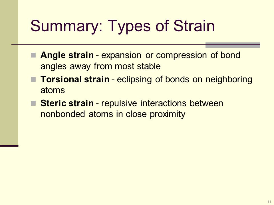 11 Summary: Types of Strain Angle strain - expansion or compression of bond angles away from most stable Torsional strain - eclipsing of bonds on neighboring atoms Steric strain - repulsive interactions between nonbonded atoms in close proximity