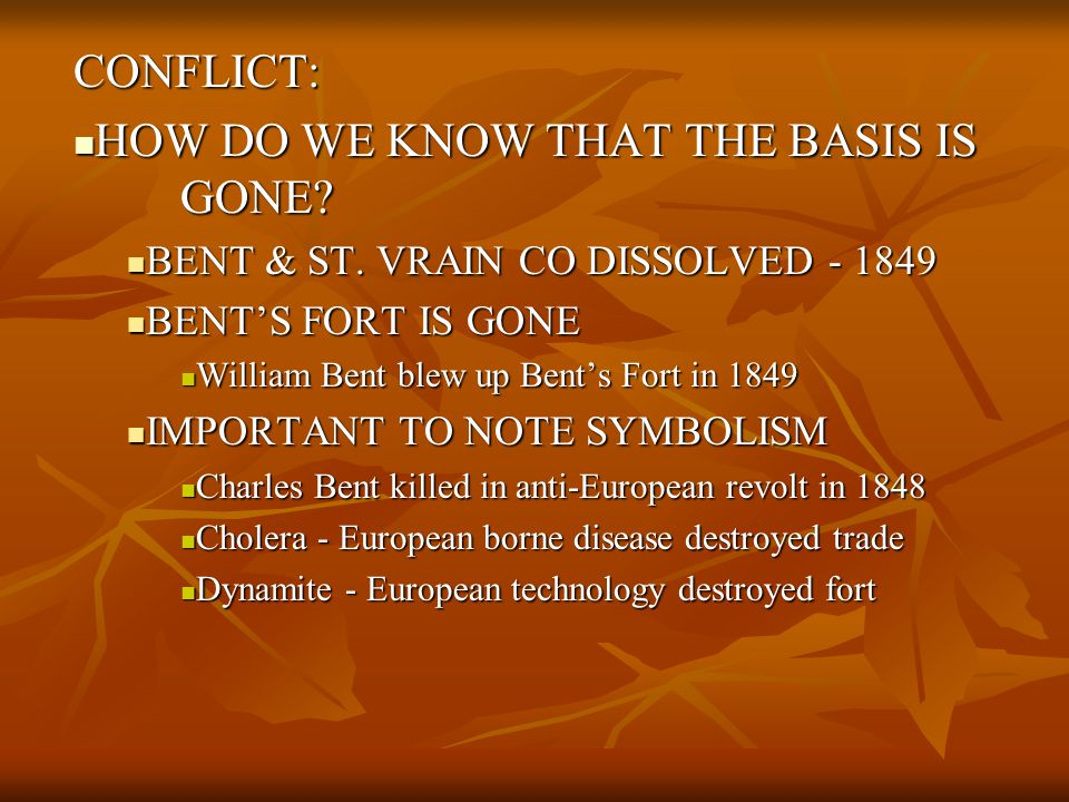 CONFLICT: HOW DO WE KNOW THAT THE BASIS IS GONE.HOW DO WE KNOW THAT THE BASIS IS GONE.