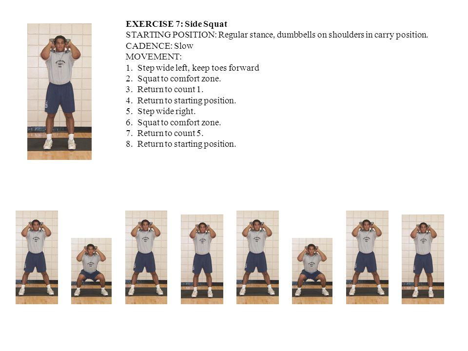EXERCISE 7: Side Squat STARTING POSITION: Regular stance, dumbbells on shoulders in carry position.