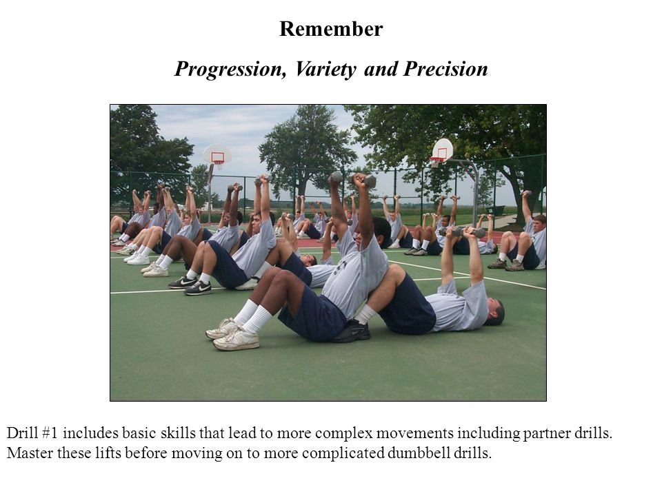 Drill #1 includes basic skills that lead to more complex movements including partner drills.
