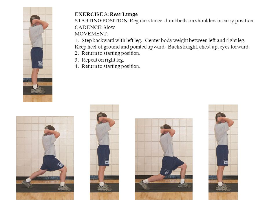 EXERCISE 3: Rear Lunge STARTING POSITION: Regular stance, dumbbells on shoulders in carry position.