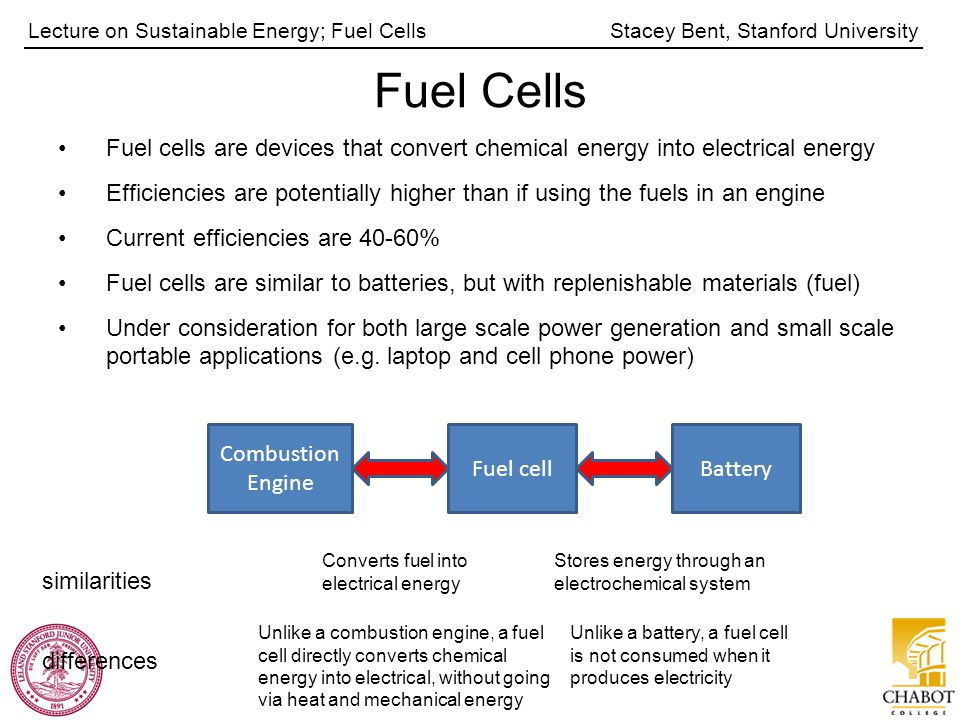 Stacey Bent, Stanford UniversityLecture on Sustainable Energy; Fuel Cells Fuel Cells Fuel cells are devices that convert chemical energy into electrical energy Efficiencies are potentially higher than if using the fuels in an engine Current efficiencies are 40-60% Fuel cells are similar to batteries, but with replenishable materials (fuel) Under consideration for both large scale power generation and small scale portable applications (e.g.