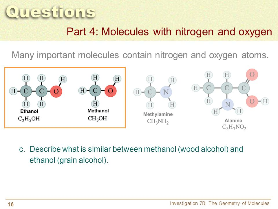 16 Investigation 7B: The Geometry of Molecules Many important molecules contain nitrogen and oxygen atoms. c. Describe what is similar between methano