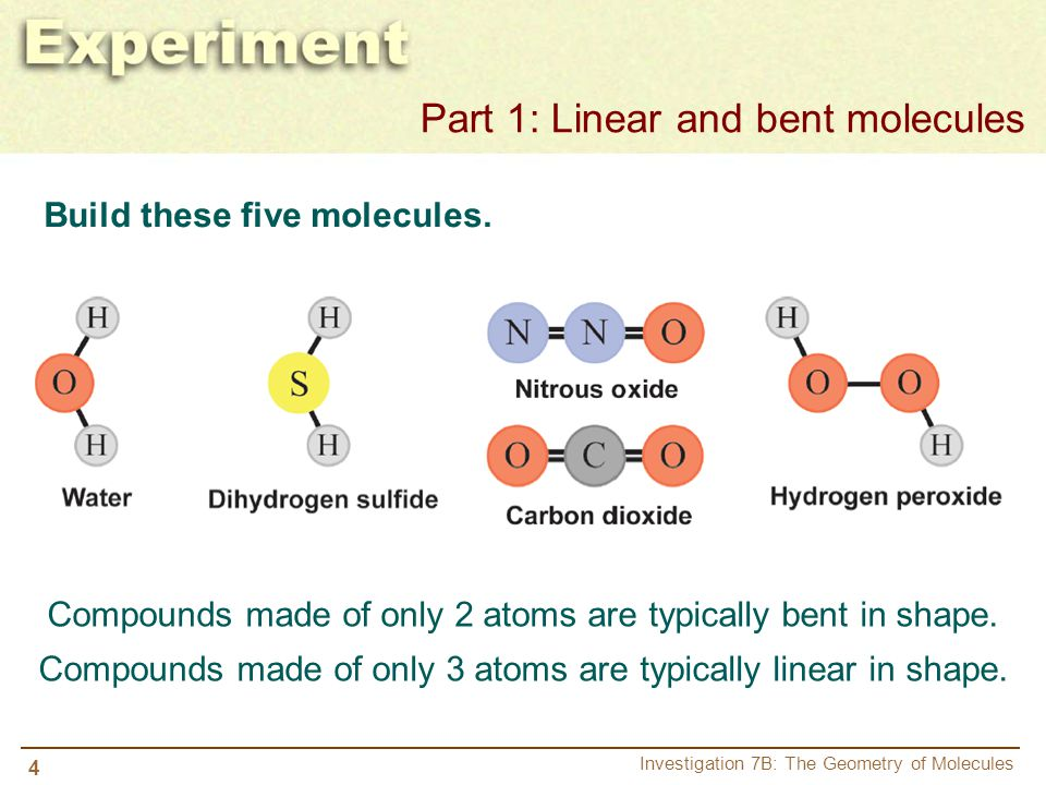 5 Investigation 7B: The Geometry of Molecules a.Name two other elements which would likely form a bent molecule when bound with two hydrogen atoms.