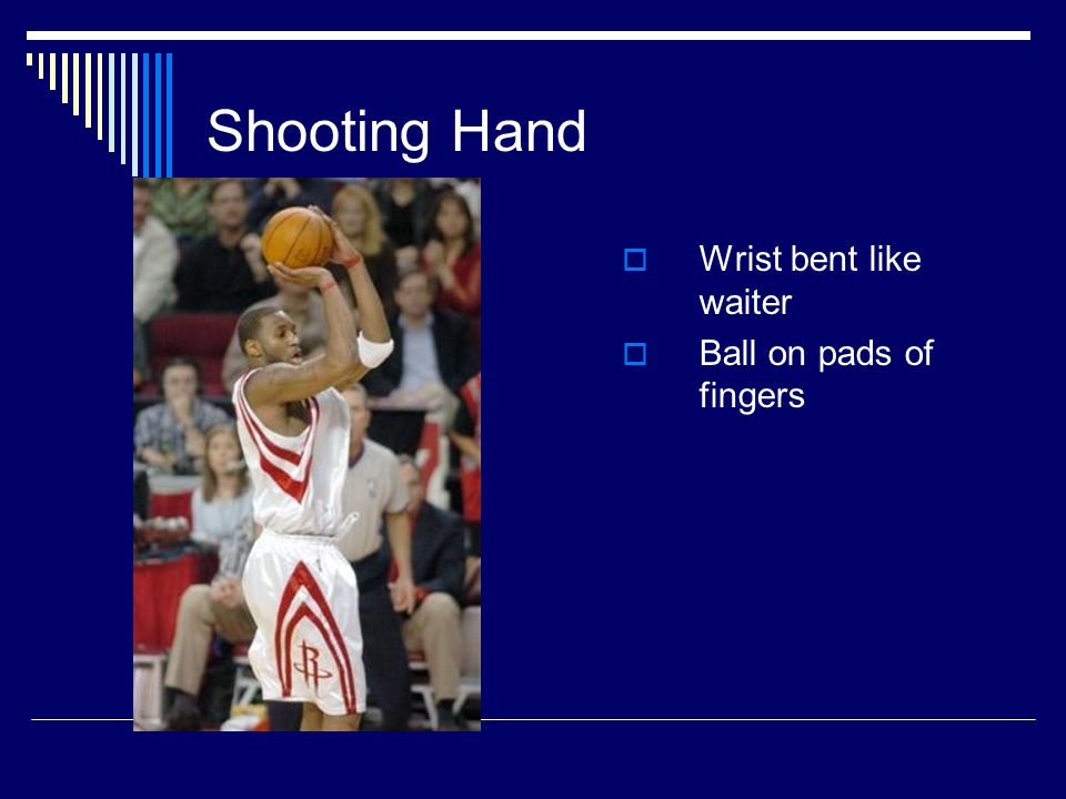 Shooting Hand  Wrist bent like waiter  Ball on pads of fingers