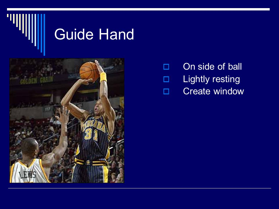Guide Hand  On side of ball  Lightly resting  Create window