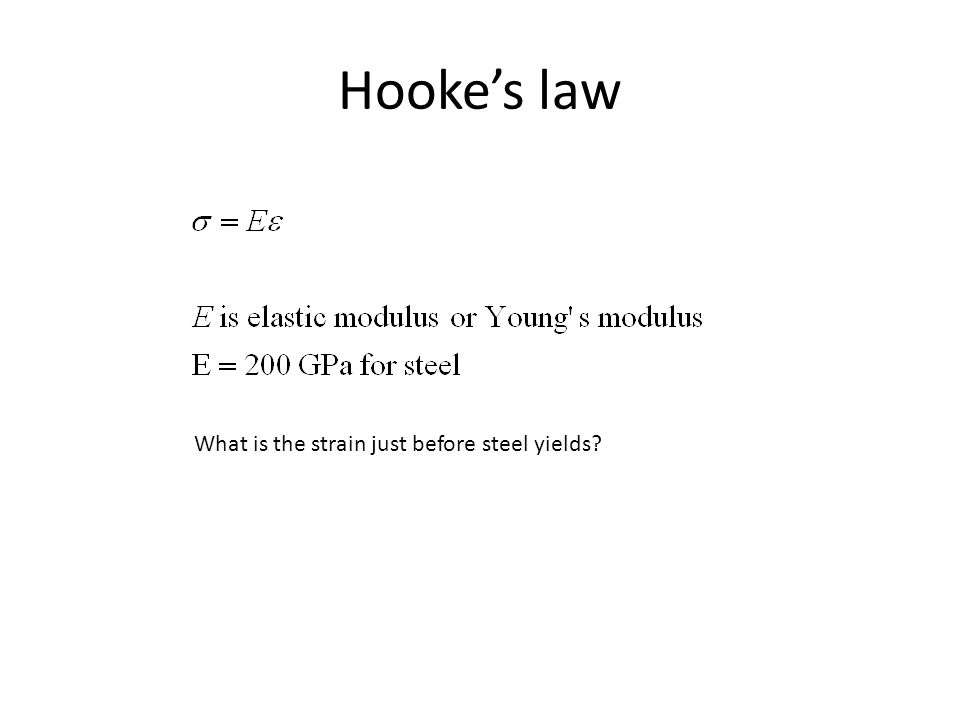Hooke's law What is the strain just before steel yields?