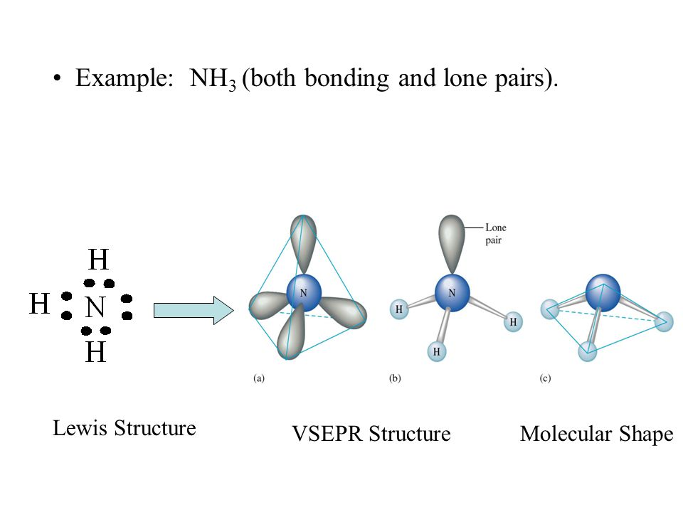 Example: NH 3 (both bonding and lone pairs). Lewis Structure VSEPR Structure Molecular Shape