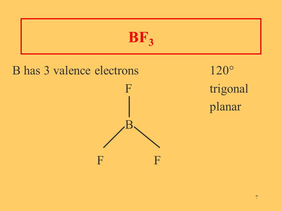 7 BF 3 B has 3 valence electrons 120° Ftrigonal planar B F
