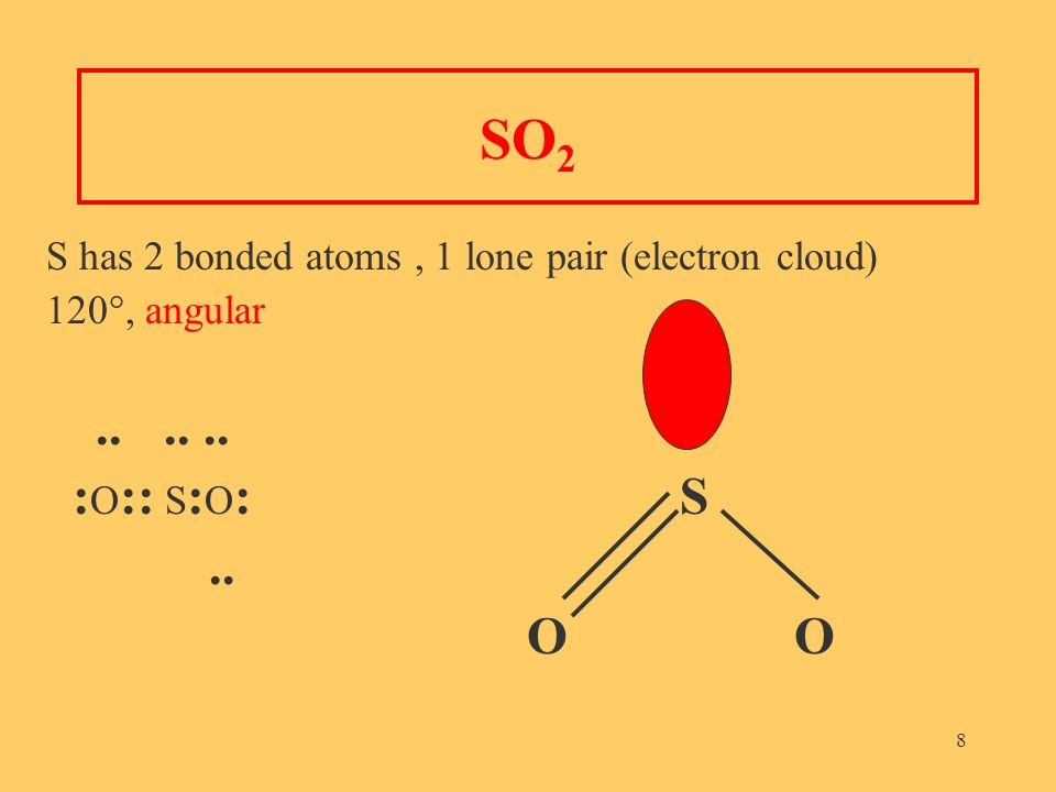 8 SO 2 S has 2 bonded atoms, 1 lone pair (electron cloud) 120°, angular...... : O :: S : O : S.. O
