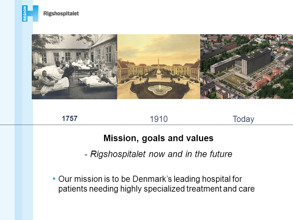 1757 1910Today Our mission is to be Denmark's leading hospital for patients needing highly specialized treatment and care Mission, goals and values - Rigshospitalet now and in the future
