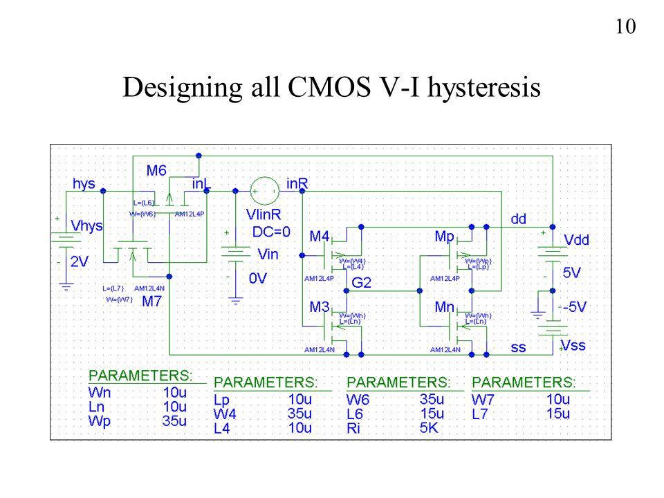 Designing all CMOS V-I hysteresis 10