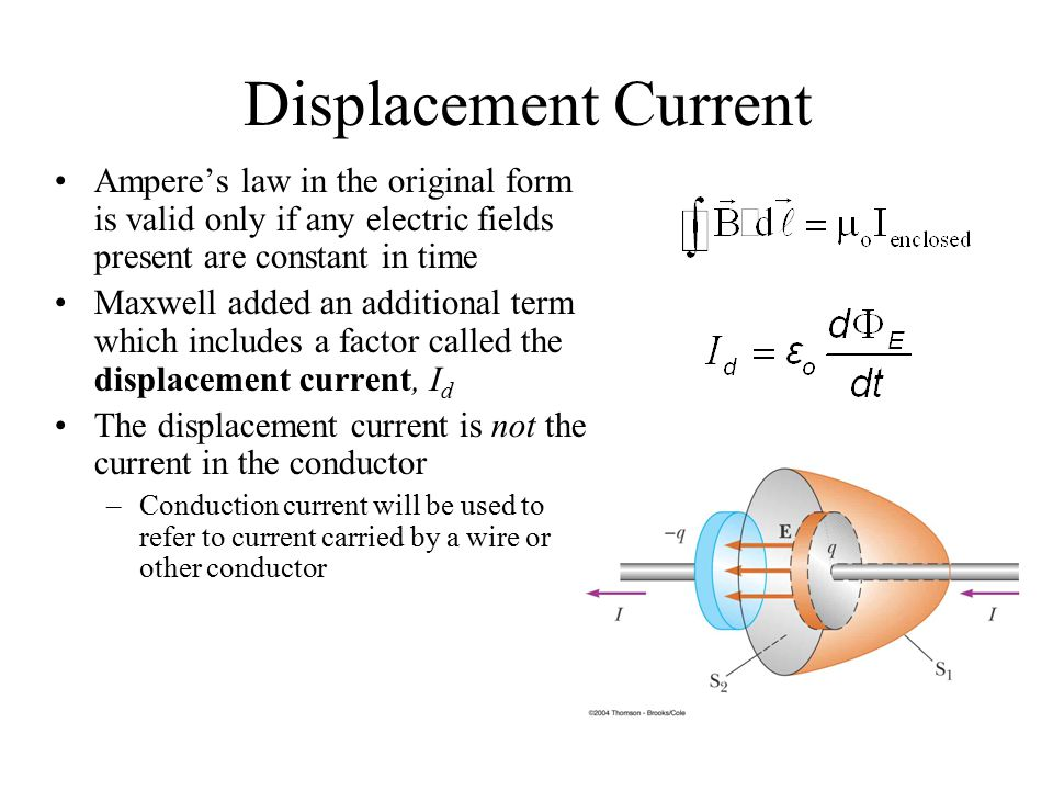 Displacement Current Ampere's law in the original form is valid only if any electric fields present are constant in time Maxwell added an additional t