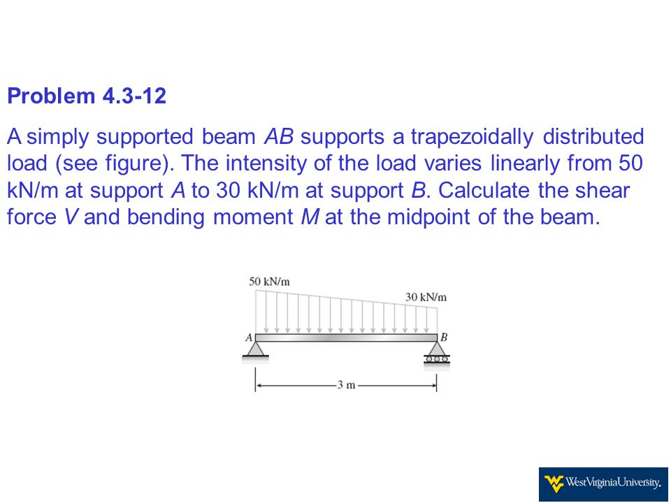 Problem 4.3-12 A simply supported beam AB supports a trapezoidally distributed load (see figure). The intensity of the load varies linearly from 50 kN