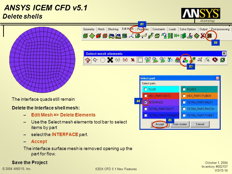 ICEM CFD 5.1 New Features Workshop ANSYS ICEM CFD v5.1 October 1, 2004 Inventory #002157 WS15-14 © 2004 ANSYS, Inc. The interface quads still remain D