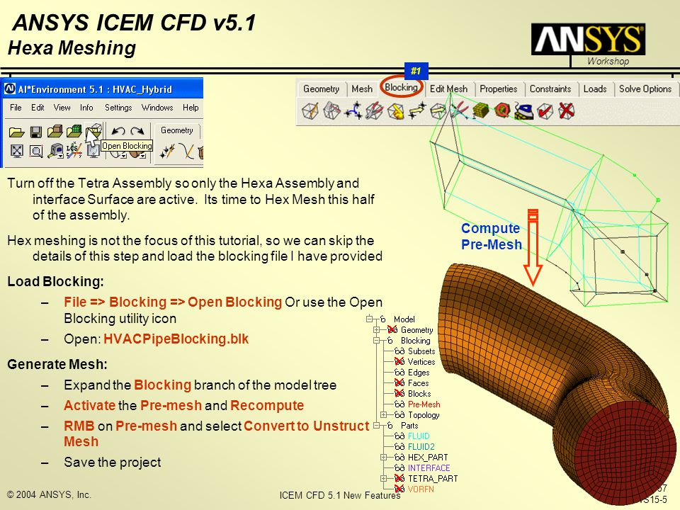 ICEM CFD 5.1 New Features Workshop ANSYS ICEM CFD v5.1 October 1, 2004 Inventory #002157 WS15-5 © 2004 ANSYS, Inc. Turn off the Tetra Assembly so only