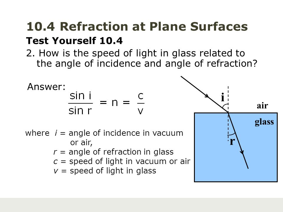 10.4 Refraction at Plane Surfaces Test Yourself 10.4 2. How is the speed of light in glass related to the angle of incidence and angle of refraction?